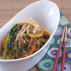 Japchae Salad, modern twist with Korean chili vinaigrette
