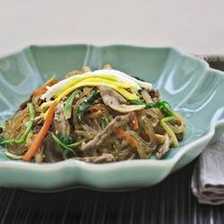Japchae, the famous Korean noodle dish