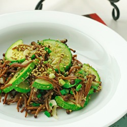 Zucchini enoki stir-fry, meet the Aliens