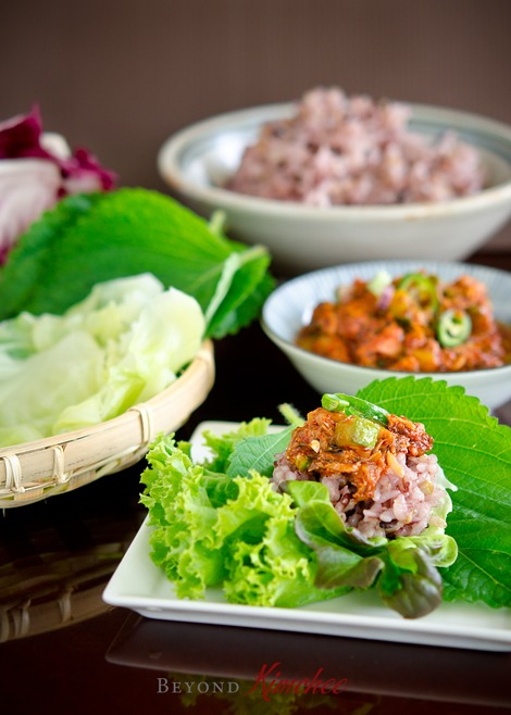 Ssambap, the Korean rice wrap with assorted lettuce and leaves