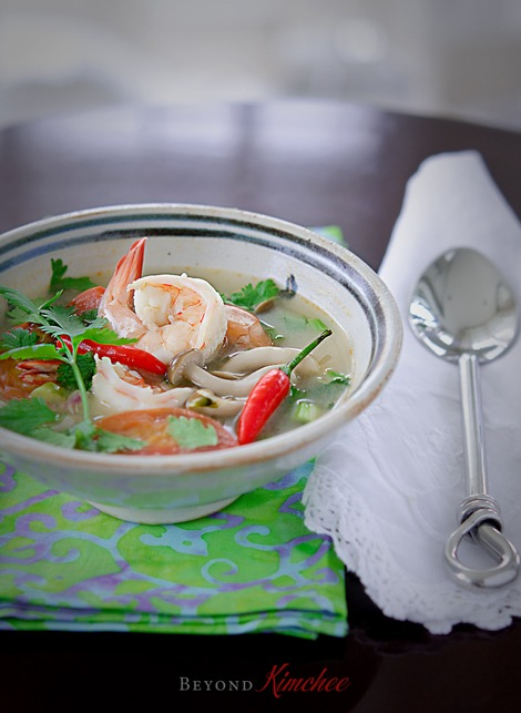 Tom Yum Goong, the Thai style hot and sour soup