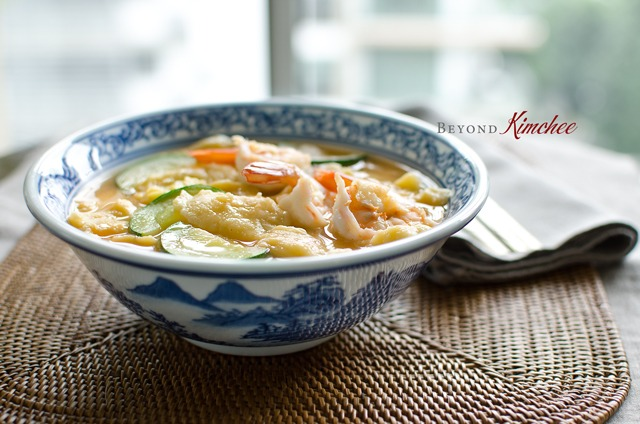 Corn Dumpling Soup with Shrimp