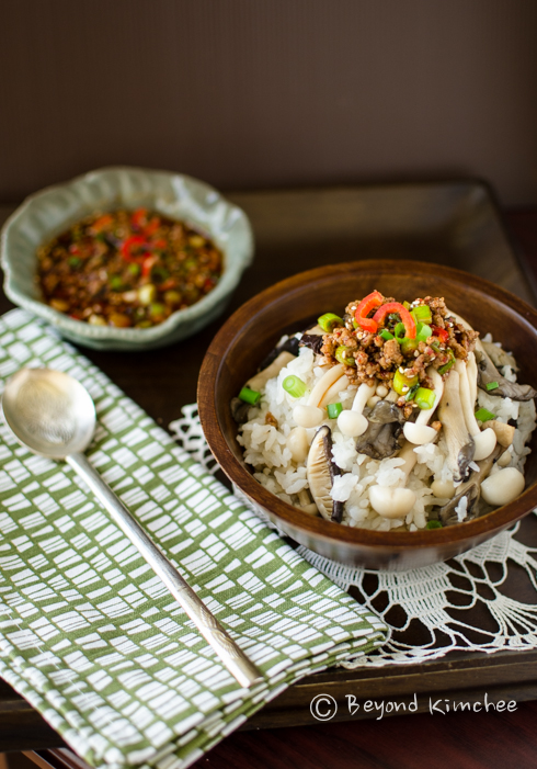 Mushroom Rice Bowl with Meat Sauce