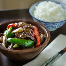 Beef and Peppers Stir-fry in Black Bean Sauce
