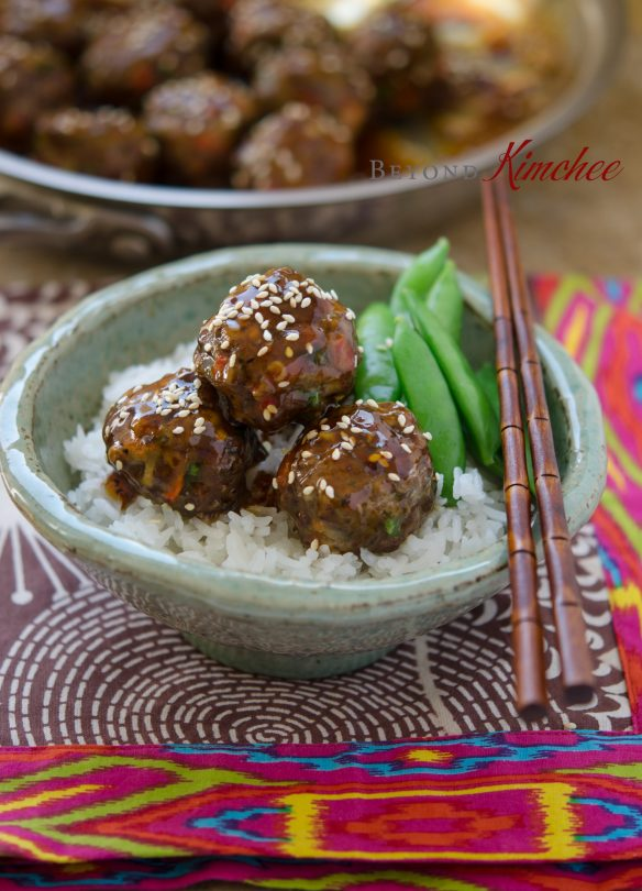Beef Meatballs with Pineapple Soy Glaze