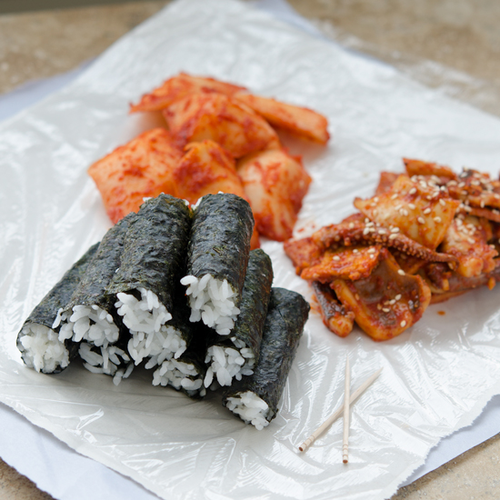 Chungmu Kimbap, the famous seaweed rice rolls from my hometown