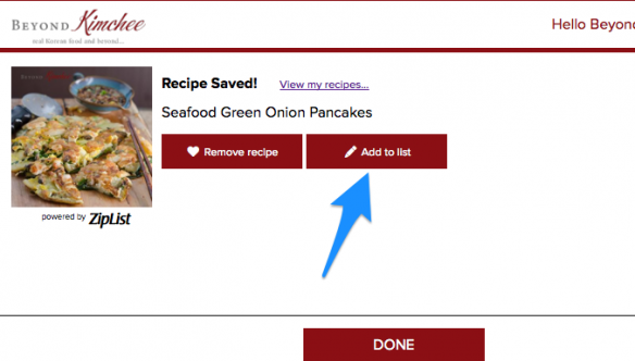 How to save Recipes - Ziplist