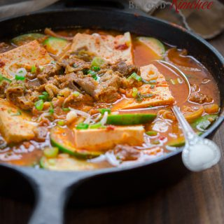 Beef and Tofu Stew in a Skillet