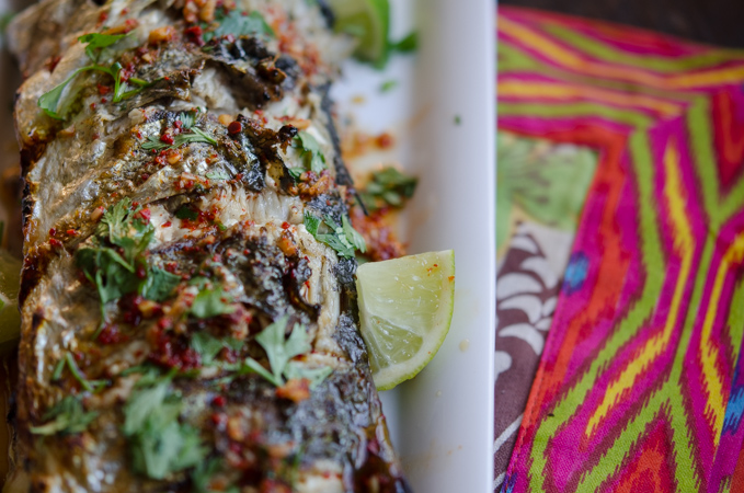 Grilled Fish with Soy Lime Chili Sauce