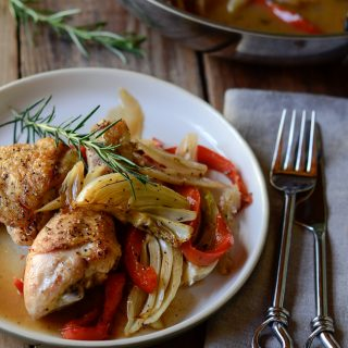Roasted Chicken with Fennel, Pepper, and Onion