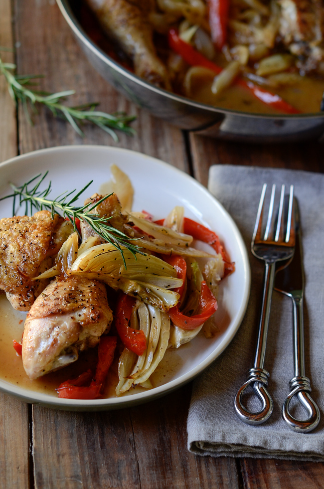 Roasted Chicken and Fennel, Pepper, and Onion