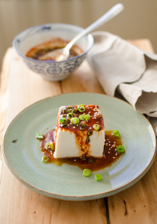 Steamed Soft Tofu with Chili Sauce