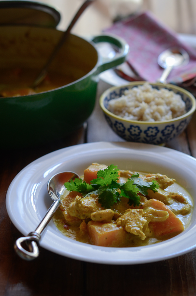 Chicken Pumpkin Curry with Homemade Thai Yellow Curry Paste