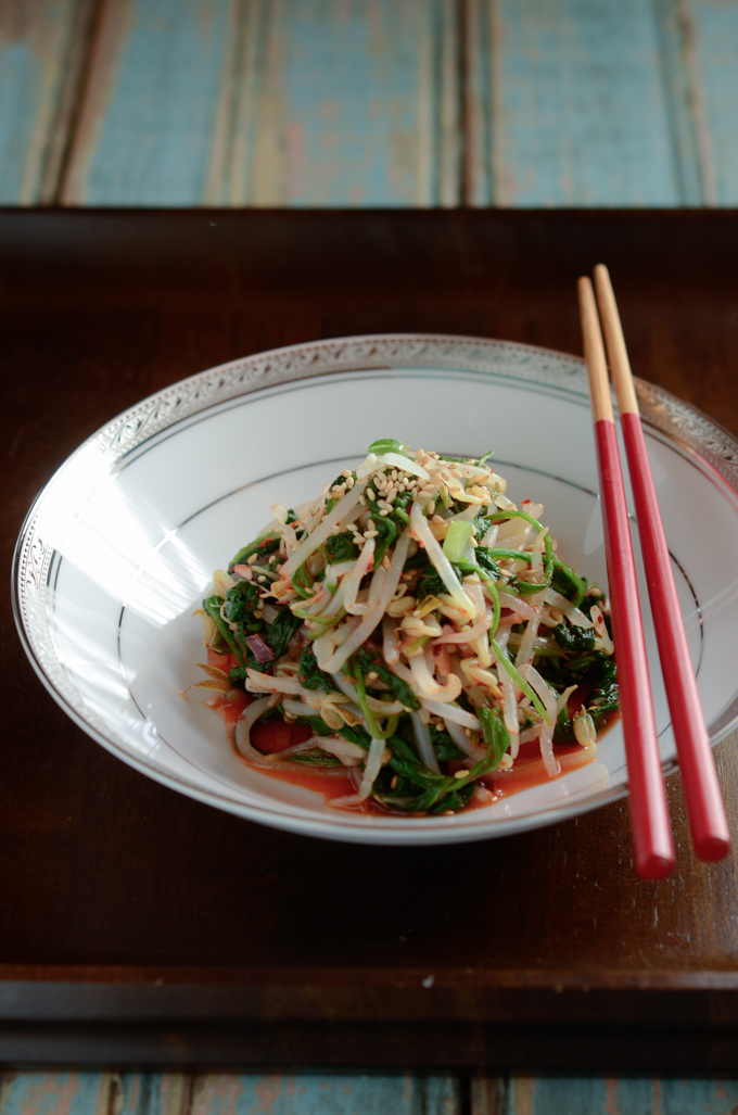 Korean Spinach Mung Bean Sprouts Salad