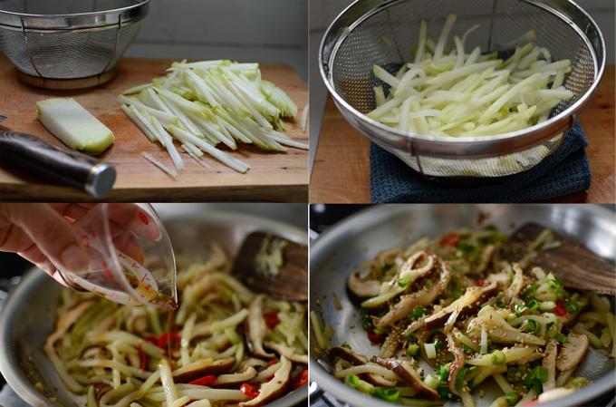 Chayote Mushroom Stir-fry