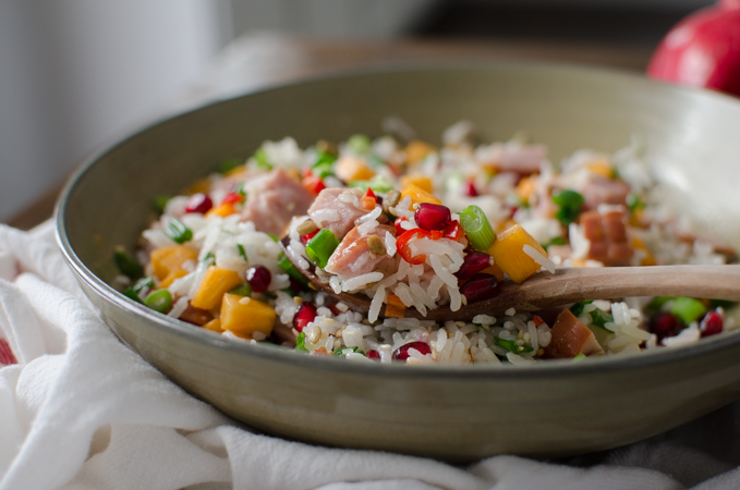Festive Asian Style Ham and Rice Salad