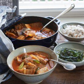 Kimchi Stew (Kimchi Jjigae) with Tomatoes