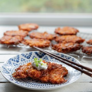 Cheesy Kimchi Potato Pancakes