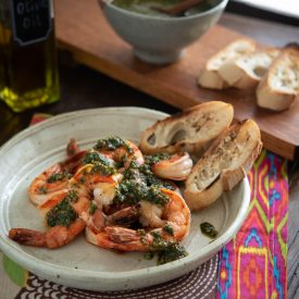 Shrimp with Mint Basil Pesto