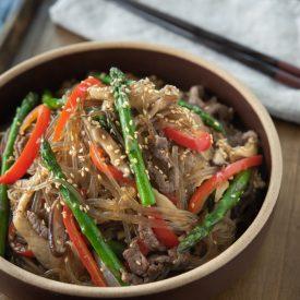 Beef Japchae with Asparagus and Mushroom